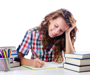 Student preparing for the exams